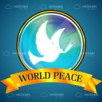 White Dove in a Glass Circular Logo with World Peace Written on a Golden Banner